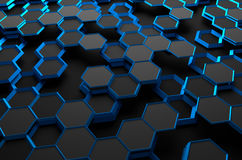 Abstract 3D Rendering of Surface with Hexagons Royalty Free Stock Images