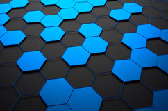 Abstract 3D Rendering of Surface with Hexagons. Abstract 3d rendering of futuristic surface with hexagons. Dark sci-fi background stock illustration