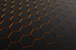 Abstract 3D Rendering of Surface with Hexagons. Abstract 3d rendering of futuristic surface with hexagons. Dark sci-fi background Vector Illustration