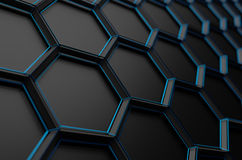 Abstract 3D Rendering of Surface with Hexagons Stock Image