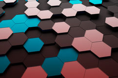 Abstract 3D Rendering of Surface with Hexagons. Abstract 3d rendering of futuristic surface with hexagons. Dark sci-fi background Royalty Free Stock Photos