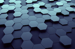 Abstract 3D Rendering of Surface with Hexagons. Abstract 3d rendering of futuristic surface with hexagons. Dark sci-fi background Royalty Free Stock Photography