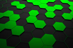 Abstract 3D Rendering of Surface with Hexagons. Abstract 3d rendering of futuristic surface with green and black hexagons. Sci-fi background Royalty Free Stock Image