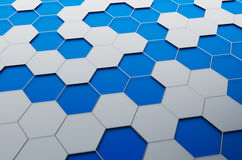 Abstract 3D Rendering of Surface with Hexagons. Abstract 3d rendering of futuristic surface with hexagons. Sci-fi background Stock Photography