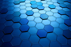 Abstract 3D Rendering of Surface with Hexagons. Abstract 3d rendering of futuristic surface with hexagons. Sci-fi background Royalty Free Stock Photography