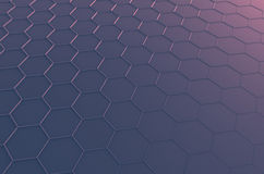 Abstract 3D Rendering of Surface with Hexagons. Abstract 3d rendering of futuristic surface with hexagons. Sci-fi background Stock Illustration