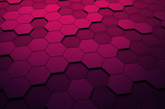 Abstract 3D Rendering of Surface with Hexagons. Abstract 3d rendering of futuristic surface with hexagons. Sci-fi background Stock Images