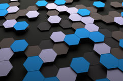 Abstract 3D Rendering of Surface with Hexagons. Abstract 3d rendering of futuristic surface with hexagons. Sci-fi background Stock Photos