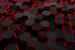 Abstract 3D Rendering of Surface with Hexagons. Abstract 3d rendering of futuristic surface with hexagons. Sci-fi background Vector Illustration