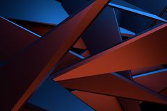 Abstract 3d rendering technology background. Red and blue color abstract 3d rendering technology background royalty free illustration