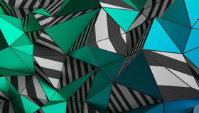 Abstract 3D Rendering of Polygonal Background. Abstract 3d rendering of triangulated surface. Modern background. Striped polygonal shape. Low poly minimalistic Stock Image