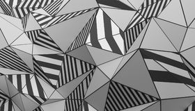 Abstract 3D Rendering of Polygonal Background. Abstract 3d rendering of triangulated surface. Modern background. Striped polygonal shape. Low poly minimalistic stock illustration