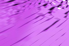 Abstract 3D rendering of violet sine waves Royalty Free Stock Photo