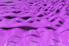 Abstract 3D rendering of violet sine waves Stock Photography