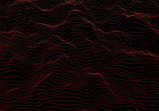 Abstract 3D Rendering of Waves with Particles. Abstract 3d rendering of waves with particles on black background. Futuristic background with lines of many low Stock Photography