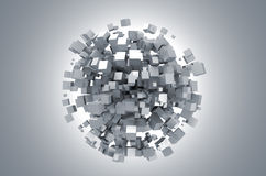 Abstract 3d rendering of white cubes. 3D rendering of white cubes. Sci-fi background. Abstract sphere in empty space. Futuristic shape stock illustration