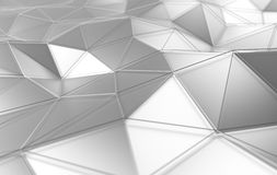 Abstract 3d rendering of white surface. Background with futuristic lines and low poly shape Royalty Free Stock Photos