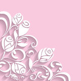 Abstract 3D  rose floral pattern. Vector 3D abstract rose floral decoration on pink background Stock Photography
