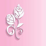 Abstract 3D rose flowers. Vector 3D abstract rose flowers on pink background vector illustration