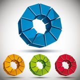 Abstract 3d round icon with sectors. Abstract 3d round icon with sectors, color versions vector set Stock Photography
