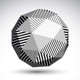 Abstract 3D rounded vector contrast figure constructed from stri. Ped isosceles triangles. Graffiti black and white geometric element Stock Photos