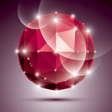 Abstract 3D ruby twinkle sphere with sparkles, red. Precious stone, eps10 Royalty Free Stock Photos