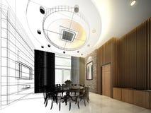 Abstract 3d schetsontwerp van het binnenlandse dineren, Stock Foto's