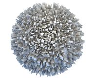 Abstract 3d Planet Covered by Simple Box Skyscraper City Buildings. Abstract 3d sci-fi planet covered by simple box like skyscraper city buildings. Business or Royalty Free Stock Image