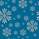 Abstract 3d Seamless Pattern with Snowflakes. Abstract Blue 3d Christmas Background with Snowflakes. Vector Seamless Pattern Template for Christmas and Stock Photo