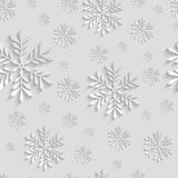 Abstract 3d Seamless Pattern with Snowflakes. Abstract 3d Christmas Background with Snowflakes. Vector Seamless Pattern Template for Christmas and Invitation Royalty Free Stock Photo
