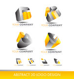 Abstract 3d set logo cube icon yellow grey Stock Photo