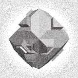 Abstract 3D shape. Halftone style. 3D Vector illustration. Abstract shape. Halftone style Stock Photography