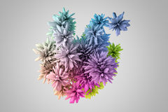 Abstract 3d shape in many colors that resembles flower Stock Images