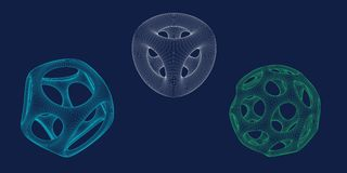 Abstract 3d shape set with holes. Vector wireframe illustration.  royalty free illustration