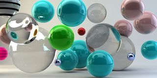Abstract 3d shapes on background. 3d image. 3d rendering. Balls on a background. Abstract. 3D rendering vector illustration