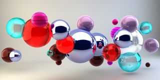 Abstract 3d shapes on background. 3d image. 3d rendering. 3d balloons. Multicolored background. 3D image. Abstract 3d shapes on background. 3d image. 3d stock illustration