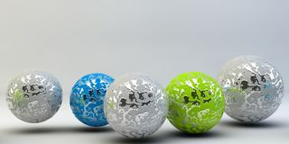 Abstract 3d shapes on background. 3d image. 3d rendering. Balls on a background. Abstract. 3D rendering royalty free illustration