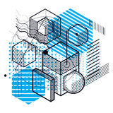 Abstract 3d shapes composition, vector isometric background. Com Stock Photos