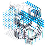 Abstract 3d shapes composition, vector isometric background. Com Royalty Free Stock Images
