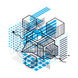 Abstract 3d shapes composition, vector isometric background. Com Stock Image