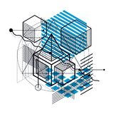 Abstract 3d shapes composition, vector isometric background. Com. Position of cubes, hexagons, squares, rectangles and different abstract elements Royalty Free Stock Images