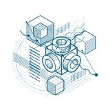 Abstract 3d shapes composition, vector isometric background. Com. Position of cubes, hexagons, squares, rectangles and different abstract elements Royalty Free Stock Image