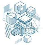 Abstract 3d shapes composition, vector isometric background. Com. Position of cubes, hexagons, squares, rectangles and different abstract elements royalty free illustration