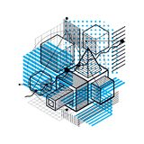 Abstract 3d shapes composition, vector isometric background. Com. Position of cubes, hexagons, squares, rectangles and different abstract elements Royalty Free Stock Photos
