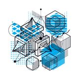 Abstract 3d shapes composition, vector isometric background. Com. Position of cubes, hexagons, squares, rectangles and different abstract elements Royalty Free Stock Photography