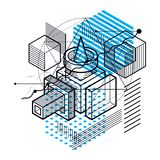 Abstract 3d shapes composition, vector isometric background. Com. Position of cubes, hexagons, squares, rectangles and different abstract elements stock illustration