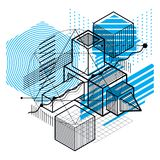 Abstract 3d shapes composition, vector isometric background. Com Royalty Free Stock Photos
