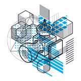 Abstract 3d shapes composition, vector isometric background. Com. Position of cubes, hexagons, squares, rectangles and different abstract elements Stock Photos
