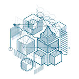 Abstract 3d shapes composition, vector isometric background. Com Royalty Free Stock Photography