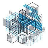 Abstract 3d shapes composition, vector isometric background.   Stock Photo